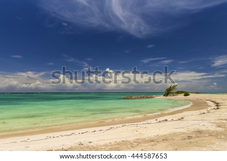 View of a tropical beach with blue sky clouds.