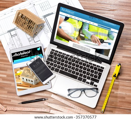 view wood architects desk high definition stock photo