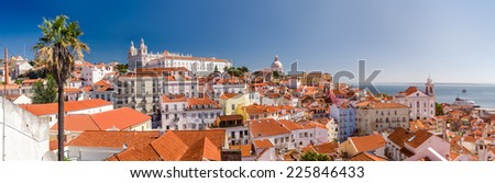 View of Alfama, the old neighborhood of Lisbon, from the overlook of Portas do Sol