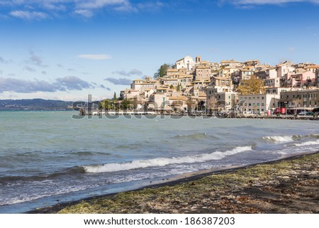 view of Anguillara Sabazia, Bracciano lake, Italy