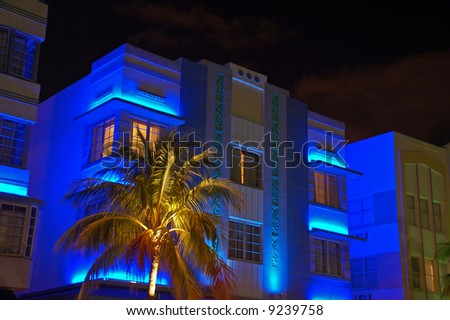 View of Art Deco Hotel in South Beach with Blue Lights