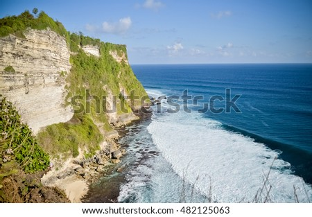 view of Balinese sea temple, Uluwatu Temple in Bali, Indonesia,  one of the top places on the island to go to for sunset delights