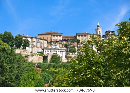 View of Bergamo Alta (old town), Italy. Bright summer shot