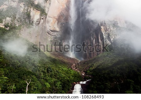 View of bottom parts of the Angel Falls ( Salto Angel ) is worlds highest waterfalls (978 m) - Venezuela, South America