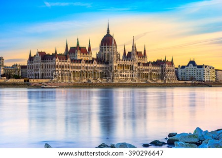 view of budapest parliament at sunset hungary