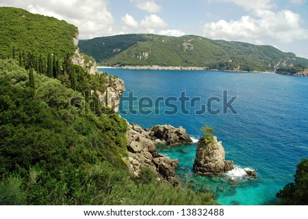 View of Cliffside Coast and Rocks on Greek Island