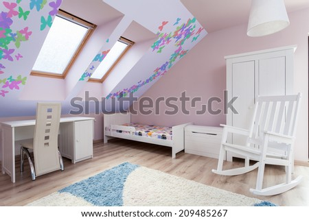 View of colorful room in the attic