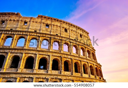 View of Colosseum at sunset in Rome, Italy.