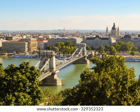 View of Danube River and Chain Bridge, Budapest, Hungary