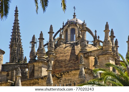 Elegant View Of Details Dome, Roof And Spires Of The Cathedral In Seville, Spain