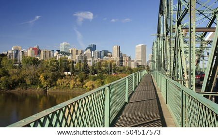 View of downtown Edmonton from bridge (Canada, Alberta)