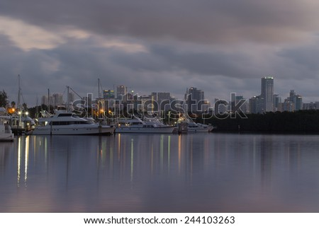 View of downtown Miami, Florida, USA at dusk