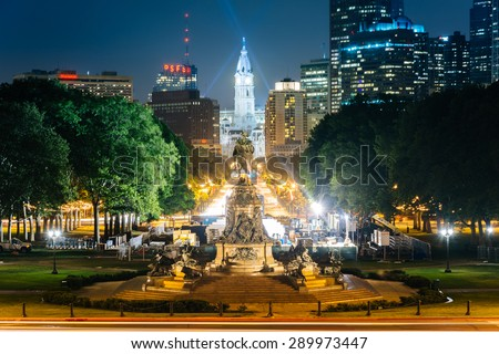 View of Eakins Oval and Center City at night, in Philadelphia, Pennsylvania.