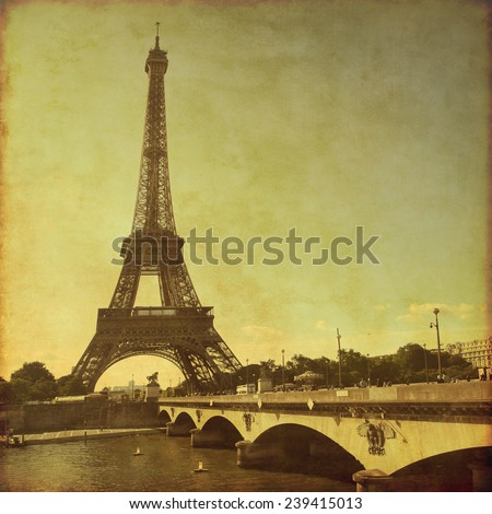 View of Eiffel tower in Paris. Grunge and retro style.