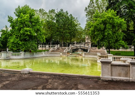 View of famous Darcy park. In 1880 the architect Felix Vionnois laid out a garden with fountain and sculptures. Dijon city, France.