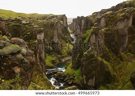 View of Fjadrargljufur Canyon, Iceland