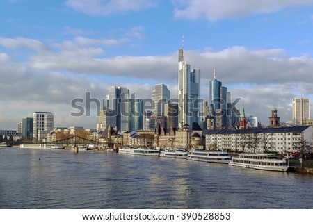 view of Frankfurt downtown from Main river, Germany