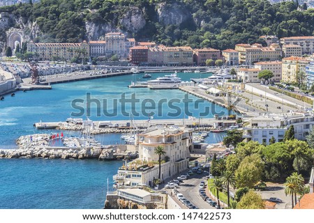 View of Harbor and marina with moored yachts and motorboats in Cannes, Cote d'Azur, France.