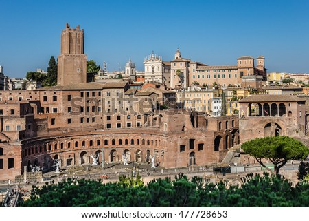 View of Imperial Fora (Fori Imperiali). Imperial Fora - series of monumental fora (public squares), constructed in Rome over a period between 46 BC and 113 AD. Rome. Italy.