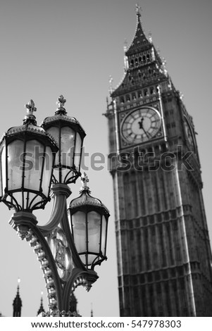View of Lamp Post and Big Ben, London