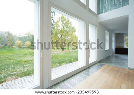View of large windows in modern house