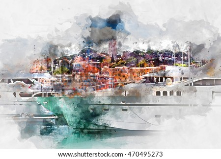 View of Le Suquet- the old town and Port Le Vieux of Cannes, France. Digital watercolor painting.