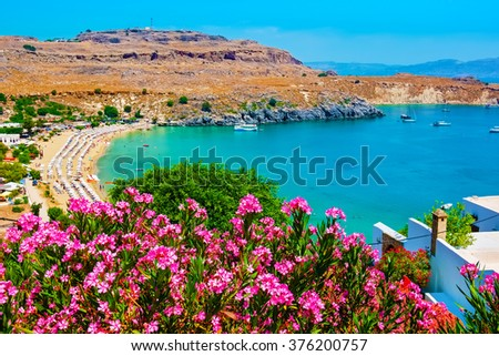 View of Lindos Bay. Lindos, Rhodes, Dodecanese Islands, Greece, Europe
