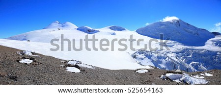 view of mount Kazbek and its surrounding glaciers