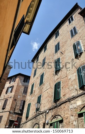 view of old Houses of Siena, Italy