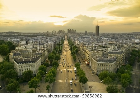 view of paris at sunset