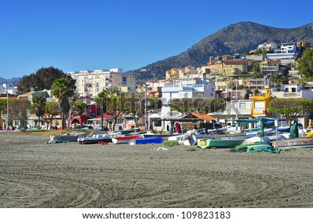 view of Pedregalejo Beach in Malaga, Spain