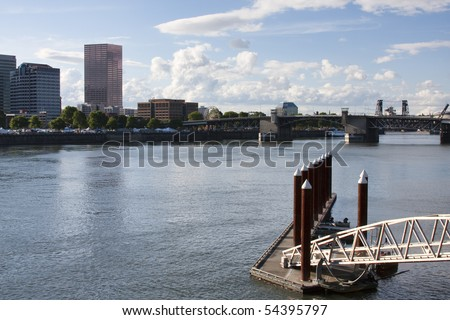 View of Portland, Oregon overlooking the willamette river on a Sunny Day.