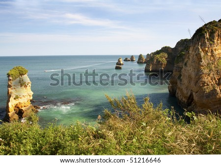 View of Praia de Dona Ana near Lagos, Portugal