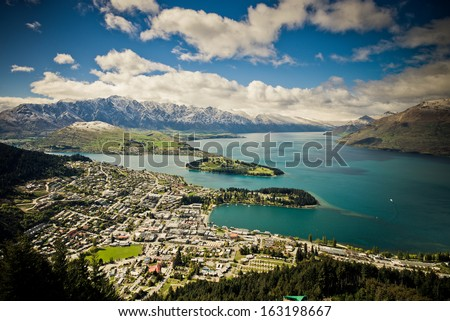 View of Queenstown and Lake Wakatipu, New Zealand