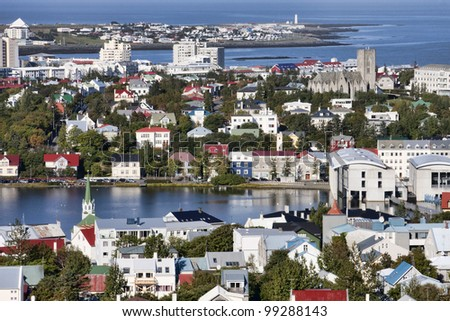 View of Reykjavik, Iceland from the top of the Hallgrimskirkja church