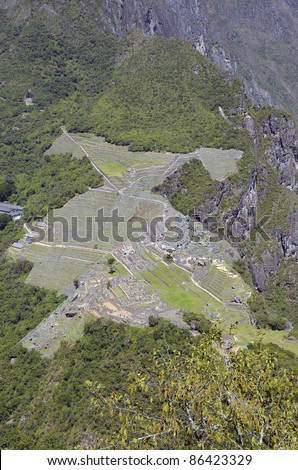View of Ruins of Lost City of Machu Picchu from Huayna Picchu - the peak behind Machu Picchu