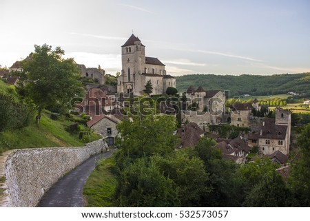 View of Saint-Cirq-Lapopie, one of the most beautiful villages in France.