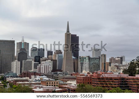 View of San Francisco Skyline with famous towers