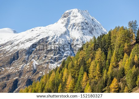 View of the alp mountains in autumn