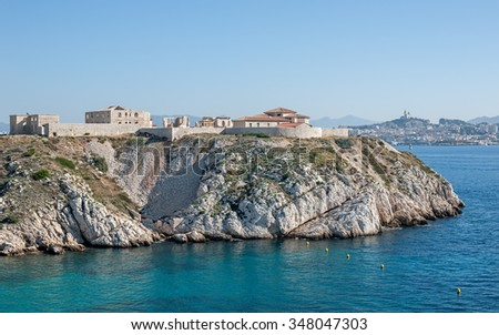 "View of the ancient hospital ""Hopital Caroline"" on the island ""Frioul"" near Marseille in South France"