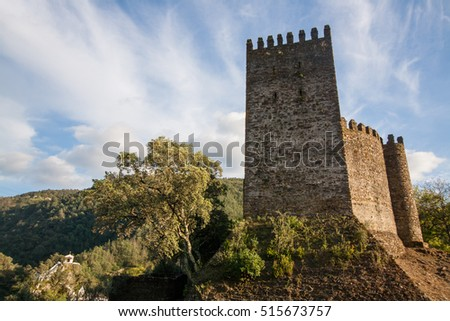 View of the arouce castle located in the forest of Lousa, Portugal.