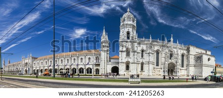 View of the beautiful landmark, Monastery of the Jeronimos located in Lisbon, Portugal.