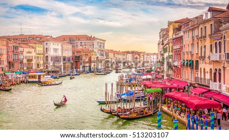 View of the canal Grande in Venice from the Rialto bridge during sunset.