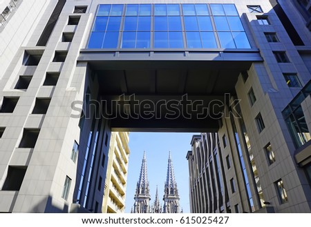 Modern Architecture Style bell tower modern architecture style buses stock photo 601472879