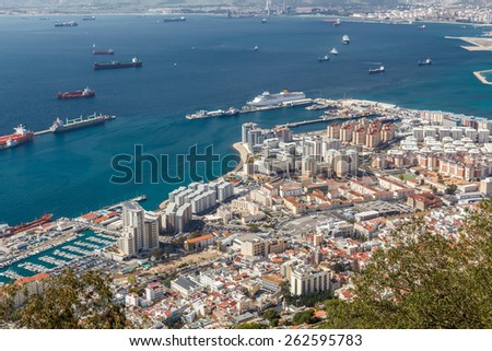 View of the city of Gibraltar and the Bay of Gibraltar