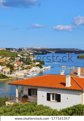 View of the Entrance to the port in Mao on Menorca, Balearic Islands, Spain