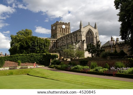 View of the famous Hexham Abbey Northumberland England