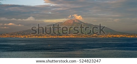 "View of the famous volcano ""Vesuv"" near Naples in Italy during sunset"