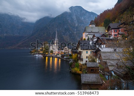 View of the Hallstatt from lake Hallstater See, Hallstatt village in Alps at dusk, Austria
