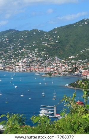 View of the harbor on the Island of St.Thomas. US Virgin Islands